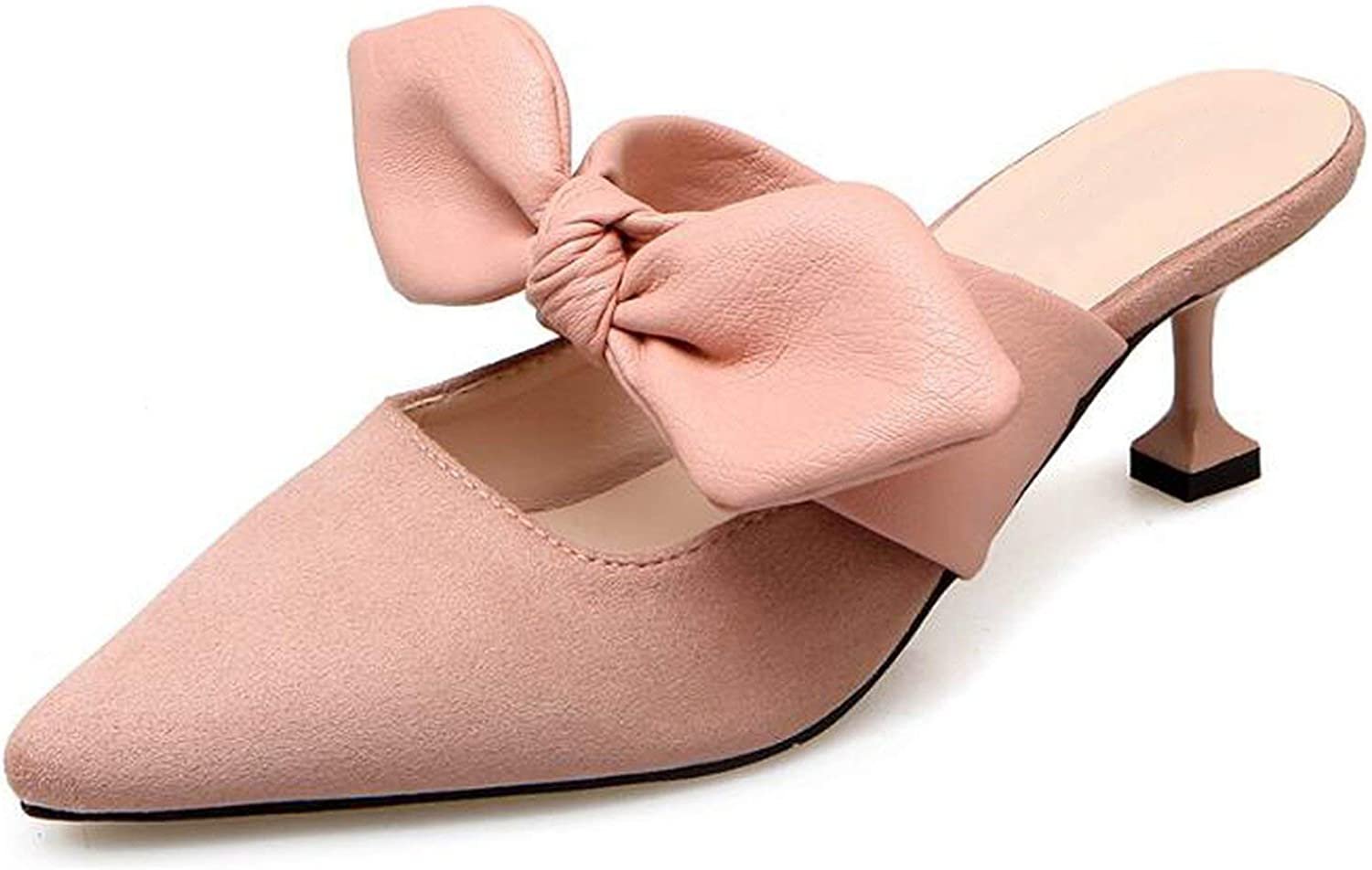 Summer Women Mules shoes Bowknot Pointed Toe High Heels Slides Female Sandals