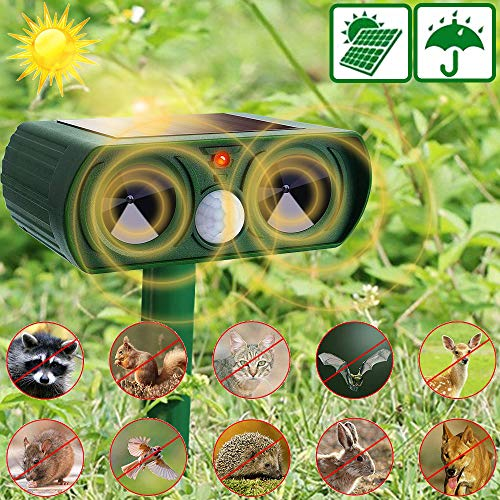 Neucox Cat Scarer Solar Powered Waterproof Cat Repellent Fox Repellent Garden Ultrasonic Pet Deterrents Solar Animal Repeller Outdoor with Motion Sensor for Bird Dog Rabbit Deer Rat Rodent Raccoon etc