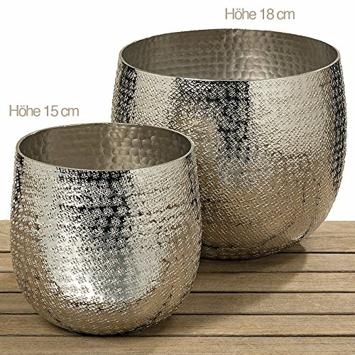 Boltze Vaso per Piante Detroit, in Alluminio, Argento, 15 cm