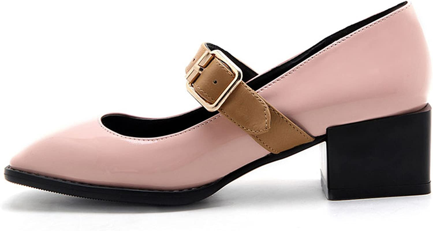 Willie Marlow Fashion Women Pumps Patent Leather Mary Jane Square Thick Heels Buckle Strap Casual shoes