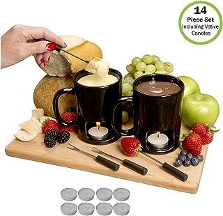 Evelots Fondue Mugs,2 Mugs,4 Forks & 8 Votive Candles-Minor Defects-Black