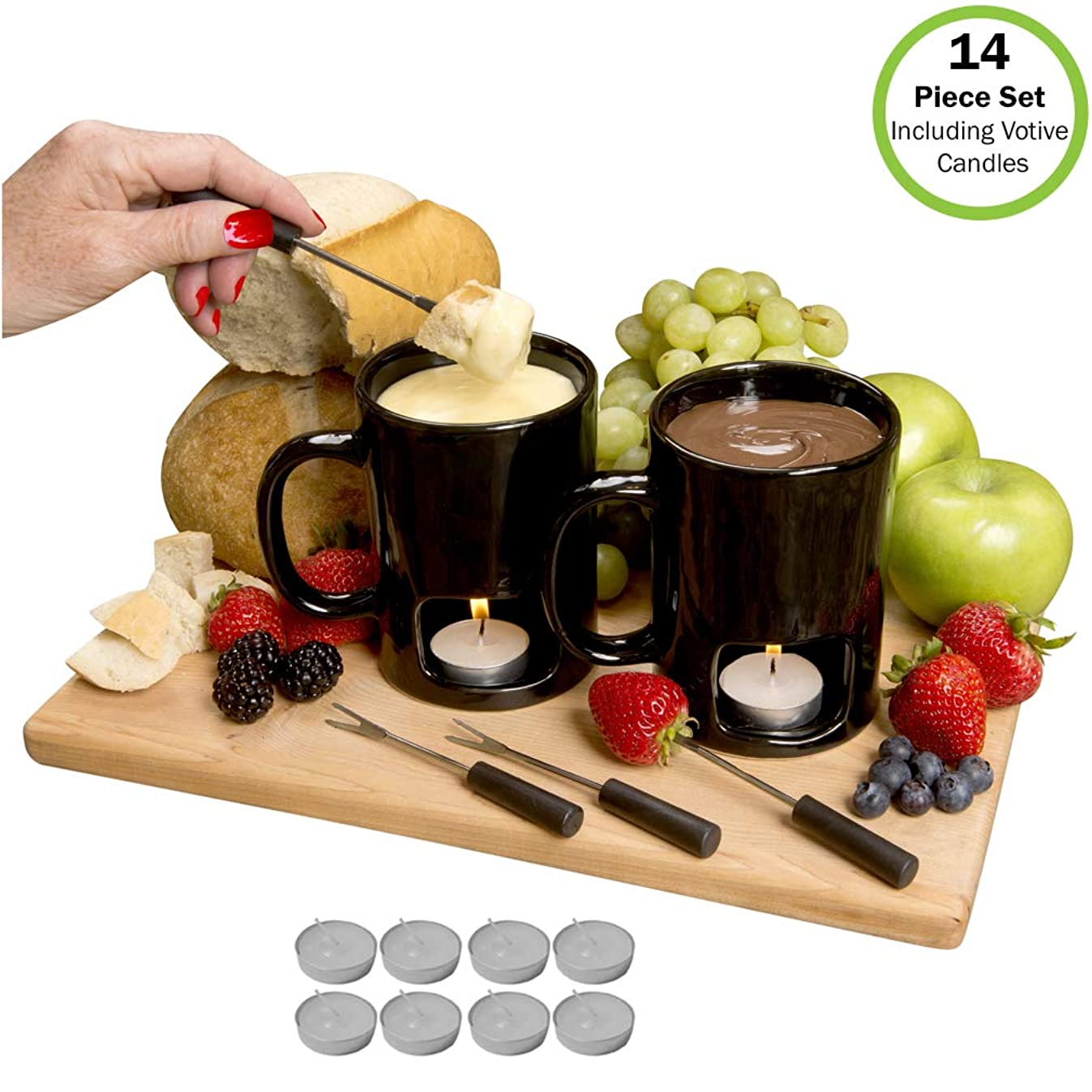Evelots Fondue Mugs,2 Mugs,4 Forks & 8 Votive Candles-Minor Defects-14 Piece Set