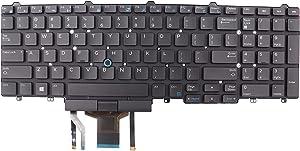 LeFix US Backlight Keyboard with Stick Pointer W/O Frame Compatible with Dell Latitude E5550 E5570 E5580 5590 5591 Precision 3520 3530 7720,0383D7