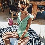 TAYIBO Fit Cuerpo Atractivo Bañera Bikini,Traje de baño Sexy de una Pieza, Ropa de Playa a Rayas con Cuello en V, Flaco con volantes-XHH118G1_S