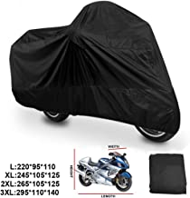 Aikesi 1Pc Telo Coprimoto Impermeabile Universale Motociclo Copri 210D Antipolvere Anti UV Traspirante Universale Telo per Moto con Sacca per il Trasporto L