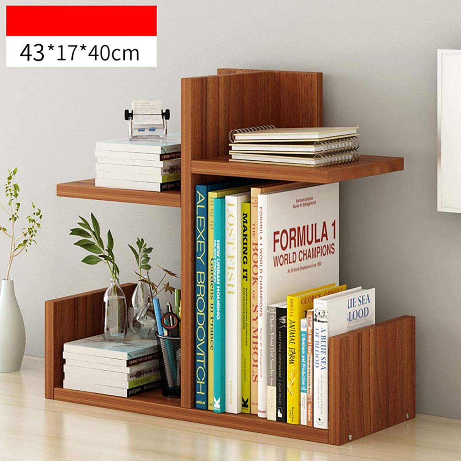 XIAOYAN Shelves Bookshelf Table Shelf Combination Bookcase Simple Modern Table Shelf for Students and Office Workers (Light Walnut White Wood) (color   Wood-C)