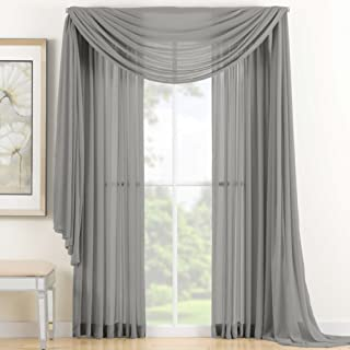 Linda Voile Sheer Solid Window Scarf, Silver, 55x216