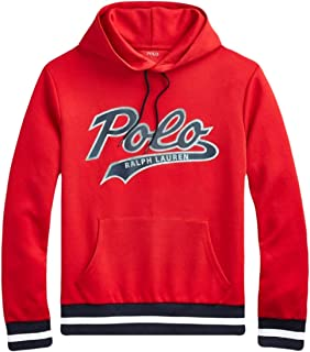Ralph Lauren Polo Men's Double Knit Graphic Print Hoodie Sweater, Red XXL
