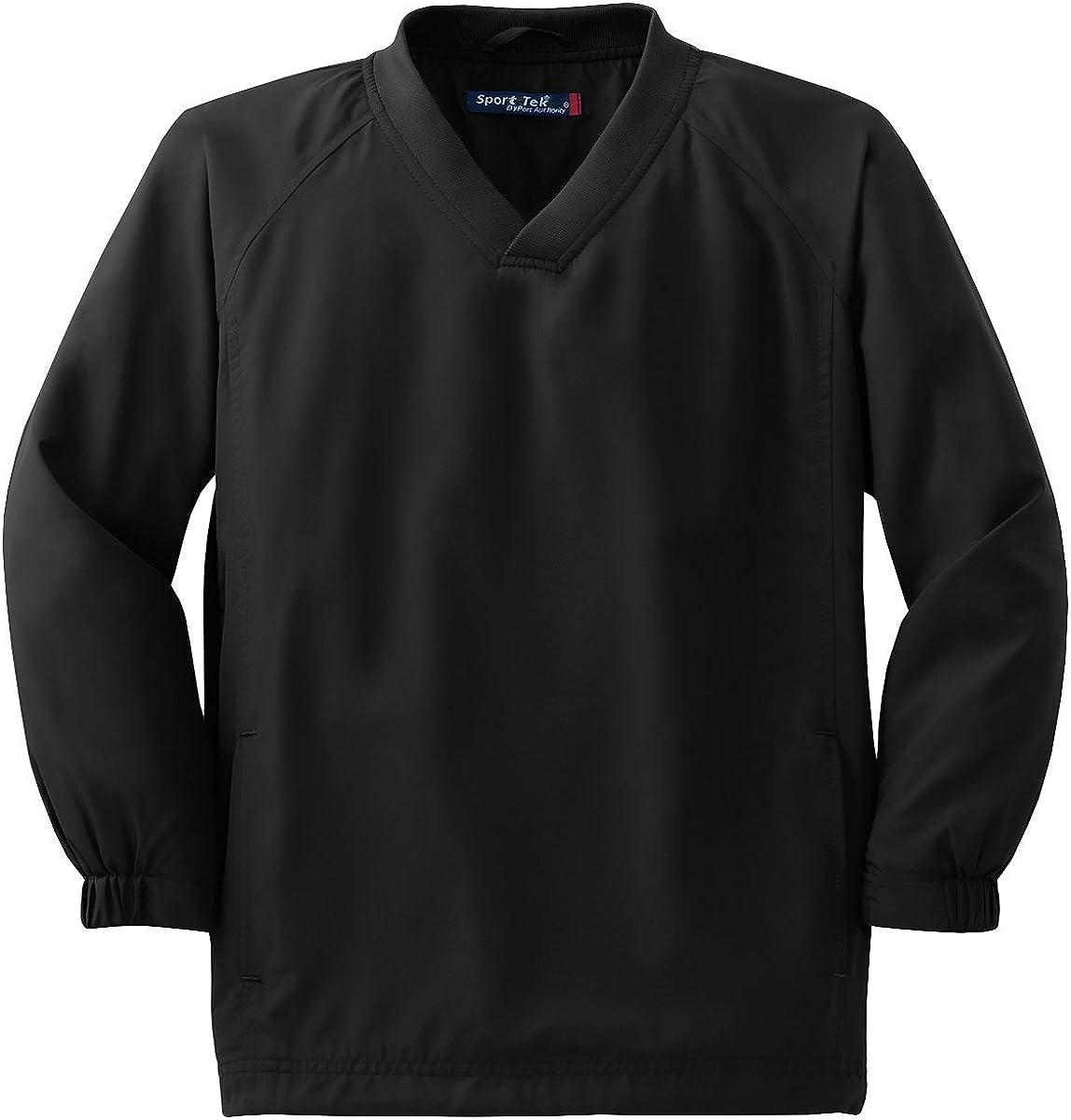YST72 Youth V-Neck Raglan Wind Shirt Black XS