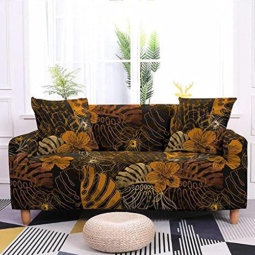 Fundas para Sofa Hojas De Mostaza Vintage Fundas Sofa Elasticas Ajustables Funda Sillon Spandex Lavables Fundas para Sofa Chaise Longue Modernas Funda Sofá Universal Fundas de Sofa Espesas 1 Plaza
