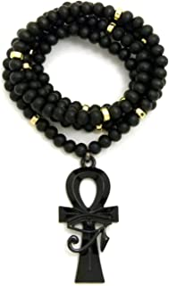 Fashion 21 Egyptian Eye of Heru on Ankh Pendant 6mm 30 inches Wooden Bead Chain Necklace in Jet Black Tone