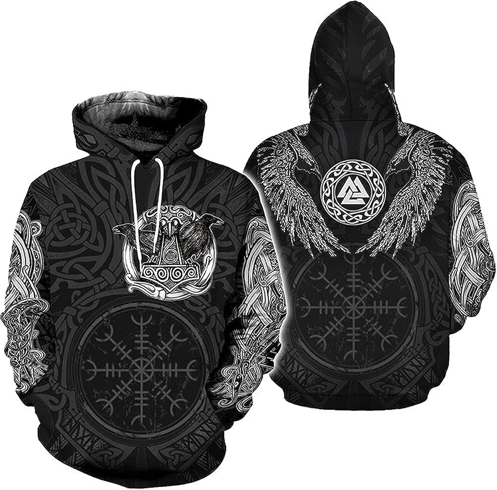 Warrior Tattoo Mjölnir Raven 3D T-Shirt Tracksuit Pullover Gift