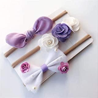 Baby Headbands 3Pcs/Set Newborn Baby Headband Flower Bows Lace Pearls Haarband Baby Girl Headbands Elastic Hair Band Baby Hair Accessories
