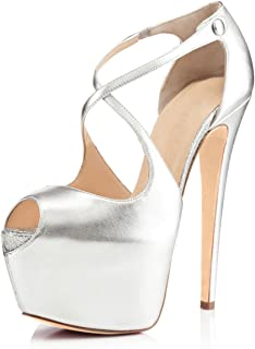 Women Peep Toe Cross Over Strap Pumps - 1 1/2 inches Hidden Platform Sandals - 6 inches Covered Stiletto High Heels