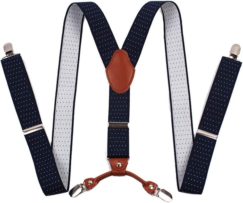 Canvas Belt Men's X Back Suspenders Controlled Clips Wide Braces & Heavy Duty (Color : Blue, Size : Free Size)