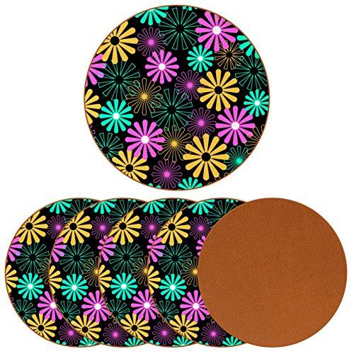 BENNIGIRY Flores de Molino de Viento Posavasos de Cuero Tapetes Redondos Resistentes al Calor para Tazas Taza de café Tapetes Individuales para Tazas de Vidrio, 6 Piezas