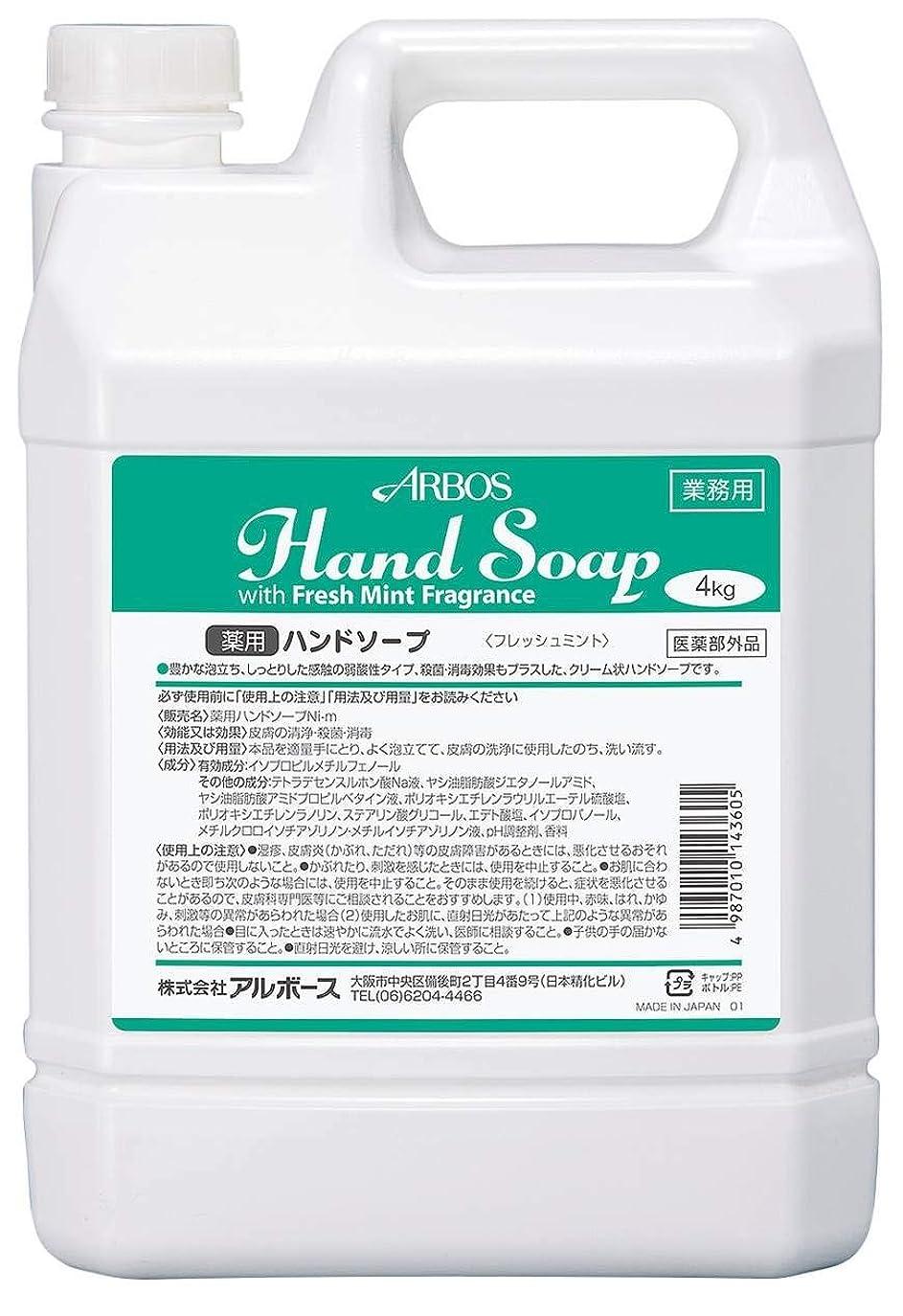 代名詞稚魚資格アルボース 薬用ハンドソープフレッシュミント 4L