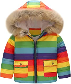 WARMSHOP Toddler Boys Girls Coat,2018 Winter Warm Stripe Rainbow Fur Collar Hooded Fleece Pockets Jacket Outcoat