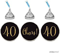 Andaz Press Gold Glitter Print Chocolate Drop Labels Stickers, Cheers 40, Happy 40th Birthday, Anniversary, Reunion, Black, 216-Pack, Not Real Glitter, for Hershey's Kisses Party Favors