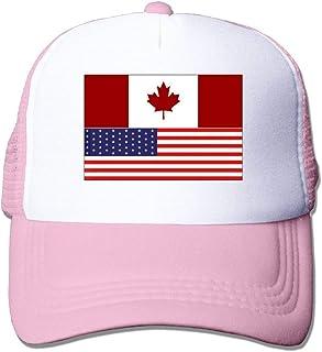 JUNEC Canada USA Combo Flag Unisex Mesh Adjustable Plain Baseball Cap Trucker Hat