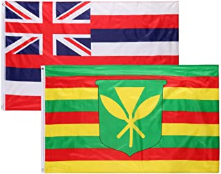 Unionm 90x150cm/ 35.4x59inchs/ 3x5FT 2pcs Combo Suit State Hawaii & Kanaka Maoli Flag Banner Grommet State Flag Single-Sided Printing Fine Tailoring and Quality Materials (Hawaii & Kanaka Maoli Flag)