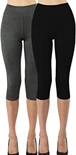 iloveSIA 2Pack Women's Yoga Pants Ultra Soft Cotton Stretch Leggings