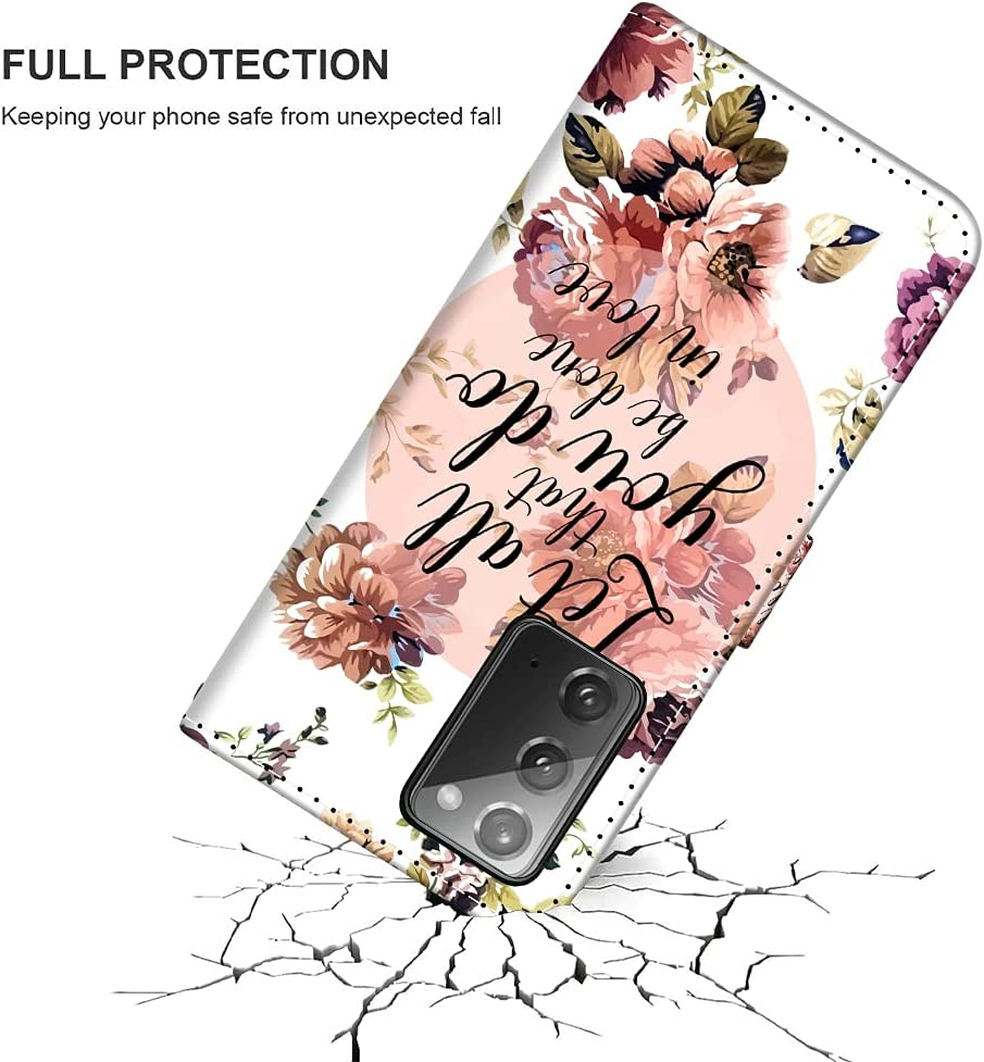 SAKUULO Wallet Case for Samsung Galaxy Note 20 Flowers Floral Bible Verse Quotes Holy Christian Full Protective Leather Case Magnetic Closure Folio Flip Cover with Card Holder Kickstand and Lanyard
