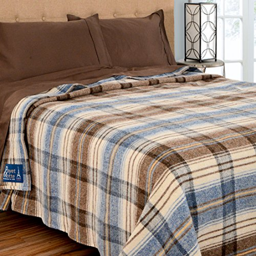 Poyet Motte Chevreuse Heavyweight Wool Blend Oversized Blanket, Machine Washable (King Size, Blue Stripe)