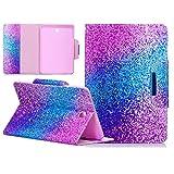 UUcovers Schutzhülle für Galaxy Tab S2 8.0 SM-T715, leicht, PU-Leder, Magnetverschluss, Flip-Ständer, Smart Wallet Hülle für Samsung Galaxy Tab S2 8.0 T715/T710, Regenbogensand
