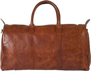 HOLZRICHTER Berlin No 17-1 XL - Premium Vintage Weekender Reisetasche, Sporttasche & Handgepäck aus Leder - Cognac-Braun