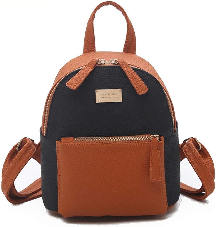 Centenarios Women's Nylon Fashion PU Leather Contrast Retro Backpack (color   Black)
