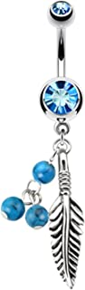 Tribal Belly Button Ring Piercing Curved Barbell Leaf Dangle 14G (1.6mm) Bar