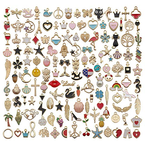 WOCRAFT 110pcs Assorted Gold Plated Enamel Animals Fruit Moon Star Dainty Dangle Flowers Pendants Charms for Jewelry Making Necklace Bracelet with 200pcs Jumprings (M381)