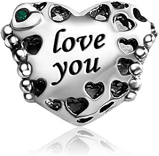 JMQJewelry I Love You Birthday Birthstone Janan-Dec أشهر سحر للأساور النساء الفتيات الرجال المجوهرات