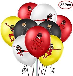 35PCS Miraculous Ladybug Latex Balloons Set Happy Birthday Party Decoration Supplies for Ladybug Superhero Girl Kids