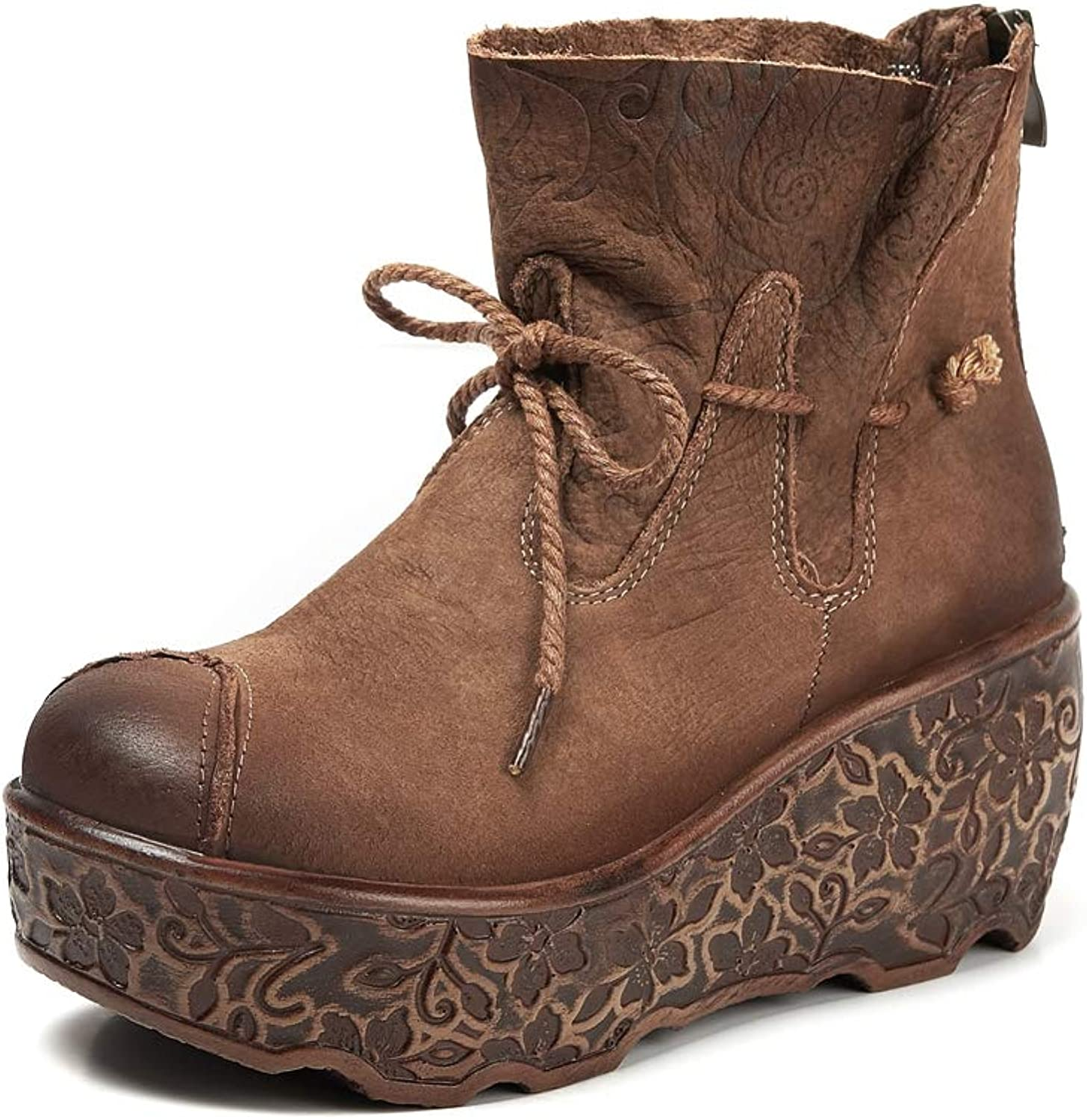 Women's Winter Leather Wedge Heel Boots, Fashion Warm Platform Martin Boots with Women's Boots.