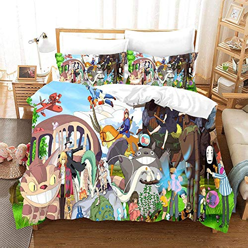 877 ZAEVO Duvet Cover Sets 3D Anime Kiki's Delivery Service Printing Comfortable Bedding Quilting Bedroom Set 100% Microfiber With 2 Pillowcases F-UK Superking(260x220) cm