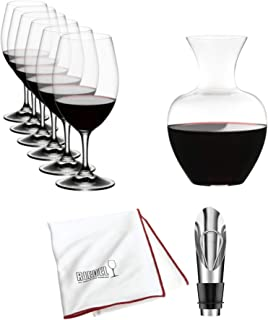 Riedel Ouverture Magnum Glasses and Apple Decanter (Clear) Set of 7 Includes Wine Pourer with Stopper and Riedel Polishing Cloth