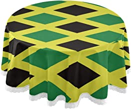 XUWU Jamaica Jamaican Flag Round Table Cloth Cover Lace Macrame for Party Holiday Dinner Home Decor