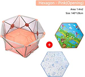 Fence-products Portable Foldable Baby Playpen Safety Lock Washable Playard Non-Toxic Materials Hexagonal Infant Playpen For Beach Playground Backyard Home Park  Color Pink  Size