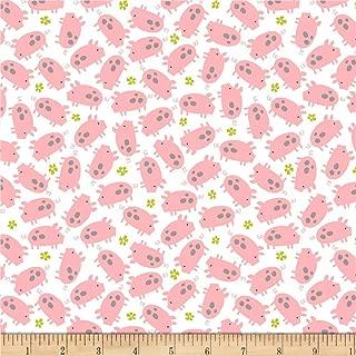 Studio E Fabrics Wildflower Farm Pigs Fabric, White, Fabric By The Yard