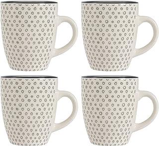 ProCook Coastal - Grande Tasse/Mug en Grès - 380ml - Ensemble 4 Pièces - Motif Cercles Gris - Tasse à Café/Tasse à Thé