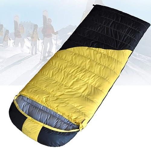 Igspfbjn Sac de Couchage Adulte portatif léger d'enveloppe Grand pour Le Camping de 4 Saisons, Voyage, randonnée (Couleur   jaune, Taille   1500g)
