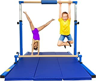 Marfula Adjustable Horizontal Kip bar Gymnastics Traing Practice Equipment with mat Fiberglass Rail & 304 Stainless Steel Regulating Arms for Kids Adult Home use