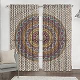 Sophia-Art Juego de cortinas y cenefa de cocina con diseño de mandala hippie indio, cortina india, decoración de habitación para balcón, juego de cortinas hippie (multicolor)