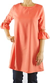 ModMod Women's Fall Dress for Work, Solid Tunic Top, Flared Sleeves Stylish Lace Splice Accents, Comfortable Cotton Blend