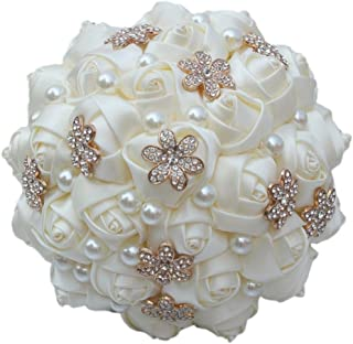 S-SSOY Wedding Bouquet Bride Bridal Brooch Bouquets Bridesmaid Ivory Cream Gold Bouquet Diamond Pearl Ribbon Valentine's Day Confession Party Church with Free Corsage Flower, 15x23cm