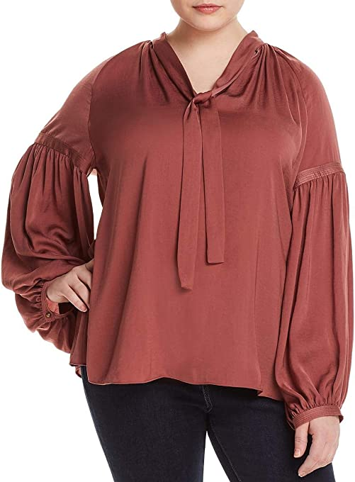 Lucky Brand Women's Size Plus Jenna Peasant Top in Rose