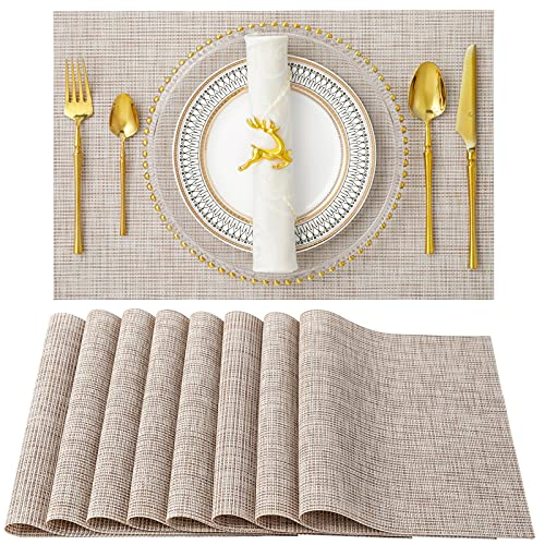 SD SENDAY Placemats, Set of 8 Heat-Resistant Placemats Stain Resistant Anti-Skid Placemats for Kitchen Table, Washable Durable PVC Table Mats Woven Vinyl Placemats