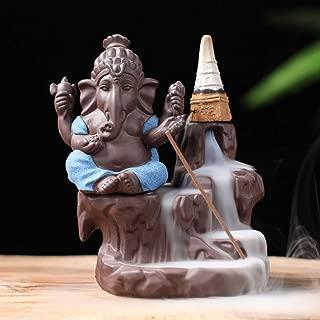 ShuangChuang Ceramic Ganesha Buddha Backflow Incense Burner Handmade Figurine Elephant God Statue with 50 Incense Cones